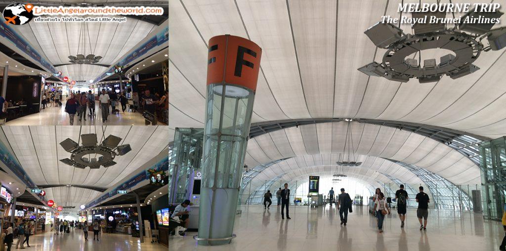 ประตูทางออก F ต้องเดินมาตามทางสุดทางให้ลงตามบันไดเลื่อนมาก็เจอประตู F : รีวิวสายการบิน royal brunei ไป เมลเบิร์น