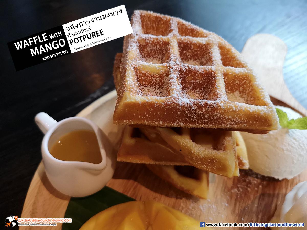 Waffle กองซ้อนกันมาถึง 4 ชิ้น : Waffle with Mango and Softserve : Potpure'e (พอทพิวเร่) ร้านอาหารไทย อินเตอร์ ที่ เซ็นทรัล พระรามเก้า ชั้น 7
